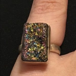 "Jewelry - Sterling silver titanium druzy ""Starry Night"" ring"